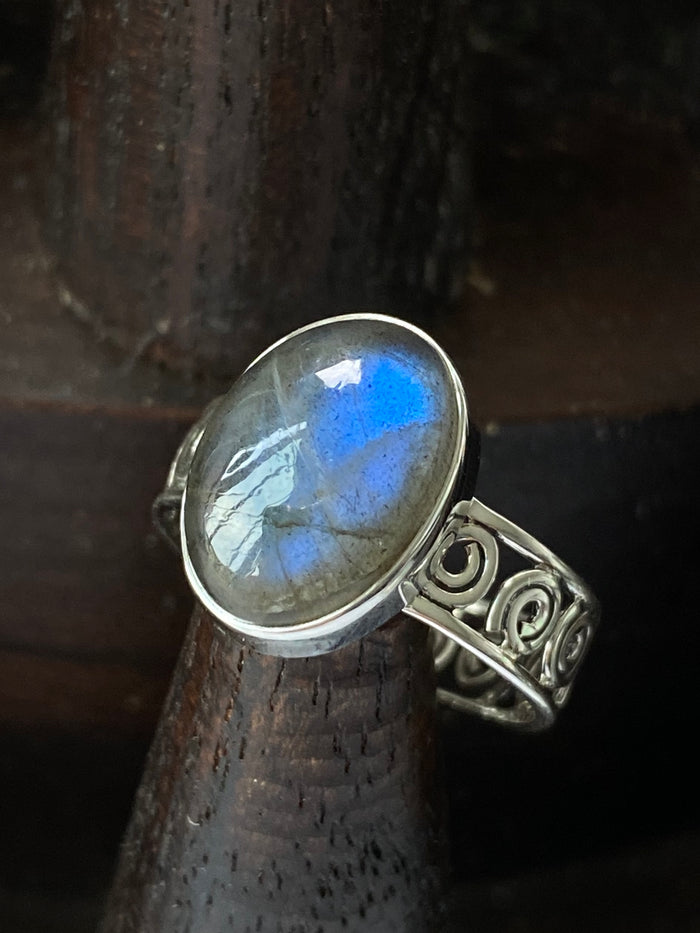 Sterling Silver Labradorite Size 9 Ring