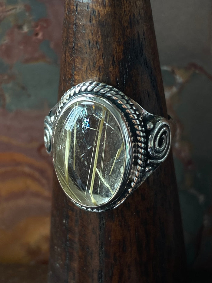 Sterling Silver Rultilated Quartz Size 8.25 Ring