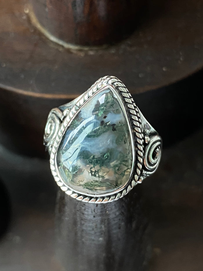 Sterling Silver Dendritic Opal Size 7 Ring