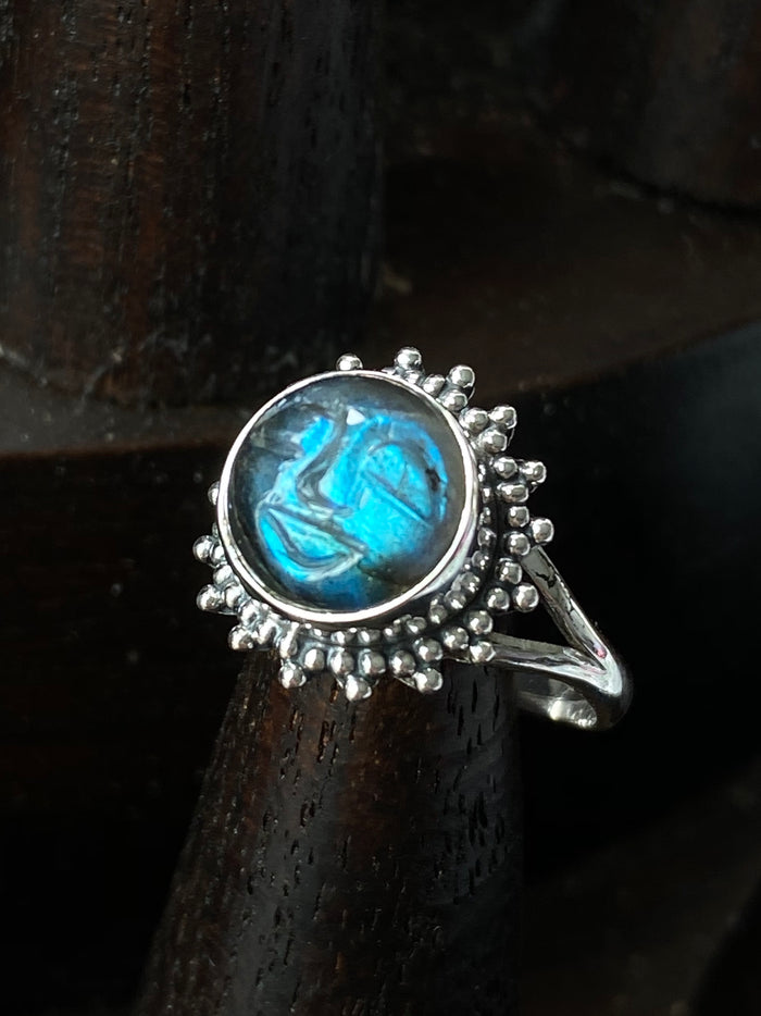 Carved Moon Labradorite Sterling Silver Ring