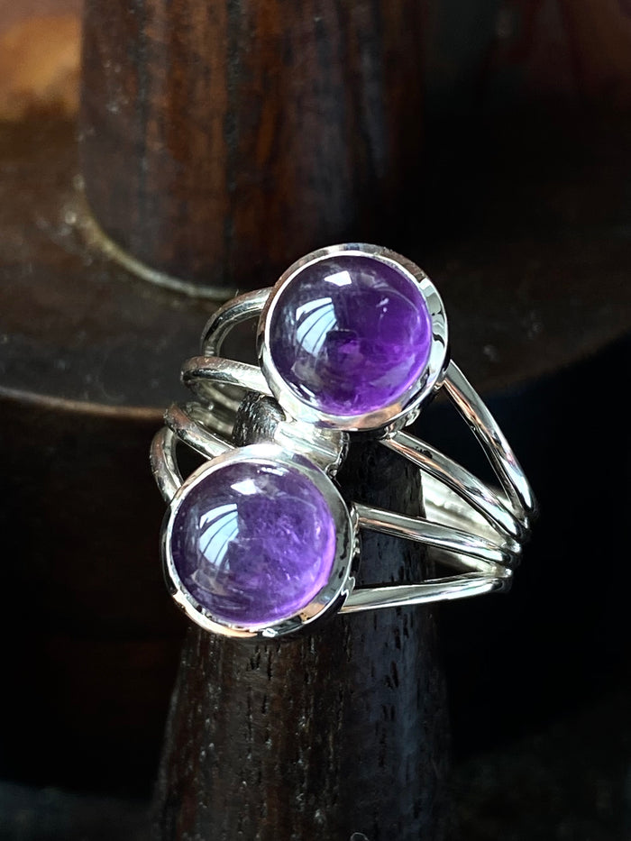 Double Amethyst Sterling Silver Ring Size 8.5