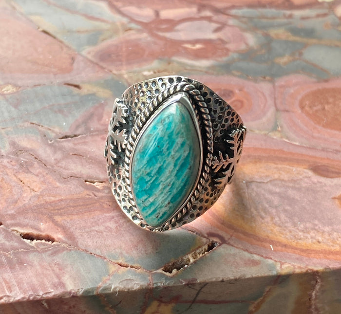 Amazonite Sterling Silver Ring Size 7.25