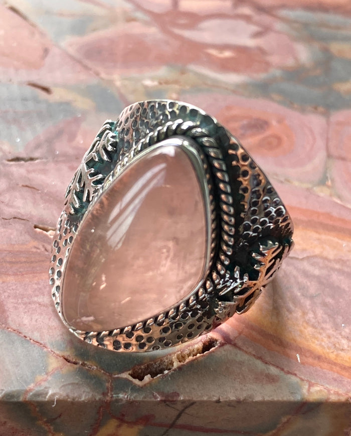 Rose Quartz Sterling Silver Ring Size 9.25