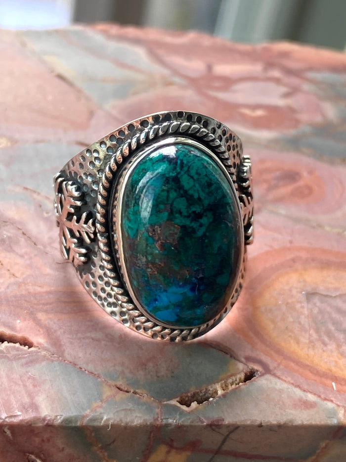 Chrysocolla Sterling Silver Ring Size 9.25