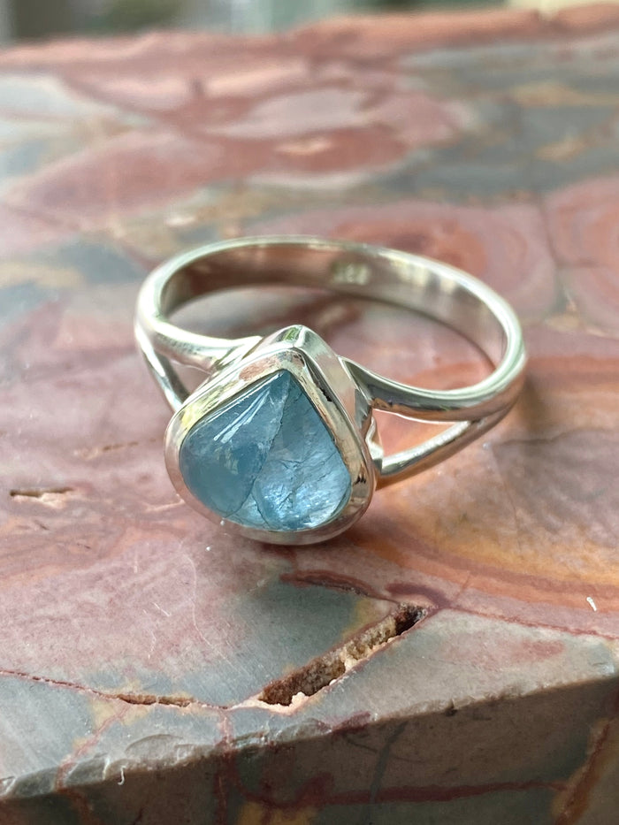 Aquamarine Sterling Silver Ring Size 8.25