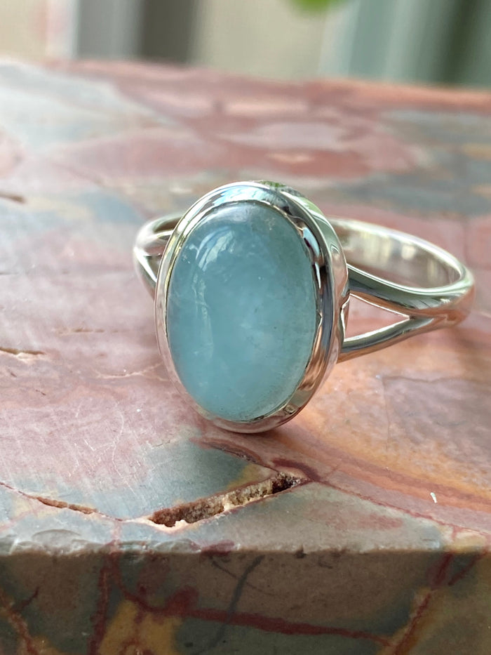 Aquamarine Sterling Silver Ring Size 10.5