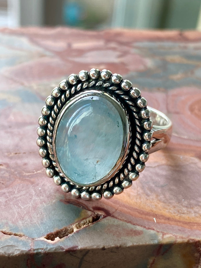 Aquamarine Sterling Silver Ring Size 9