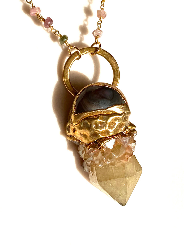 Gold Aura and Tigers Eye Pendant