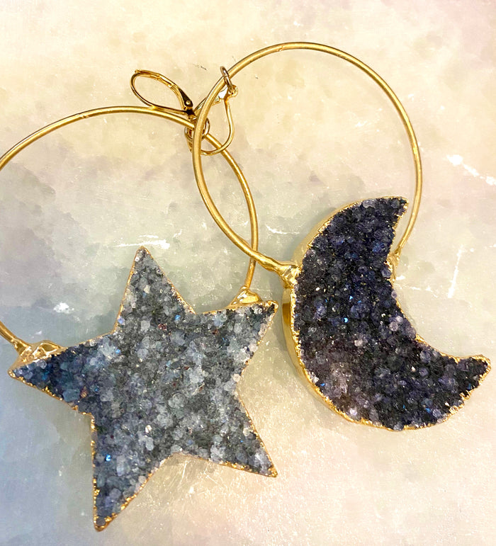 luna moon and star 14k gold earrings