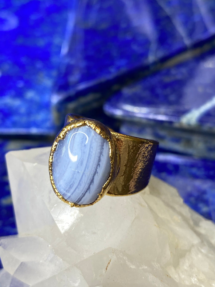 Blue Lace Agate Ring 6.5