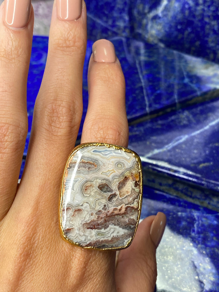 Crazy Lace Agate Ring 7.5