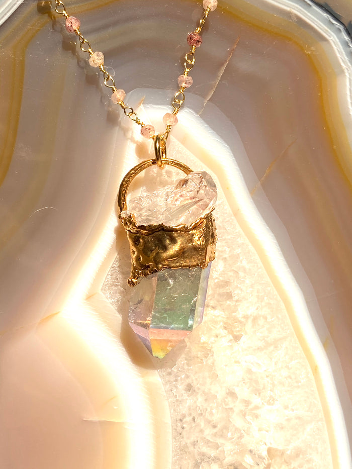 Angel Aura and Quartz Pendant
