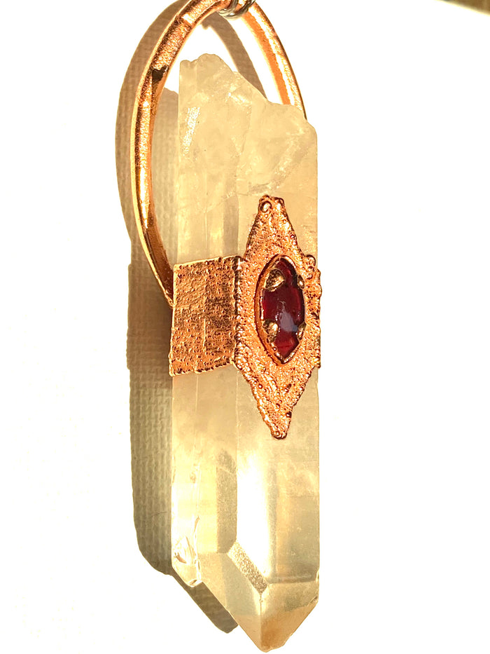Quartz and Garnet Pendant