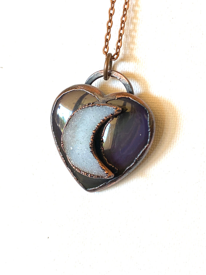 Rainbow Obsidian and Quartz Druzy moon Pendant