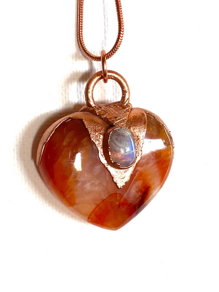 Carnelian and Opal Heart Pendant