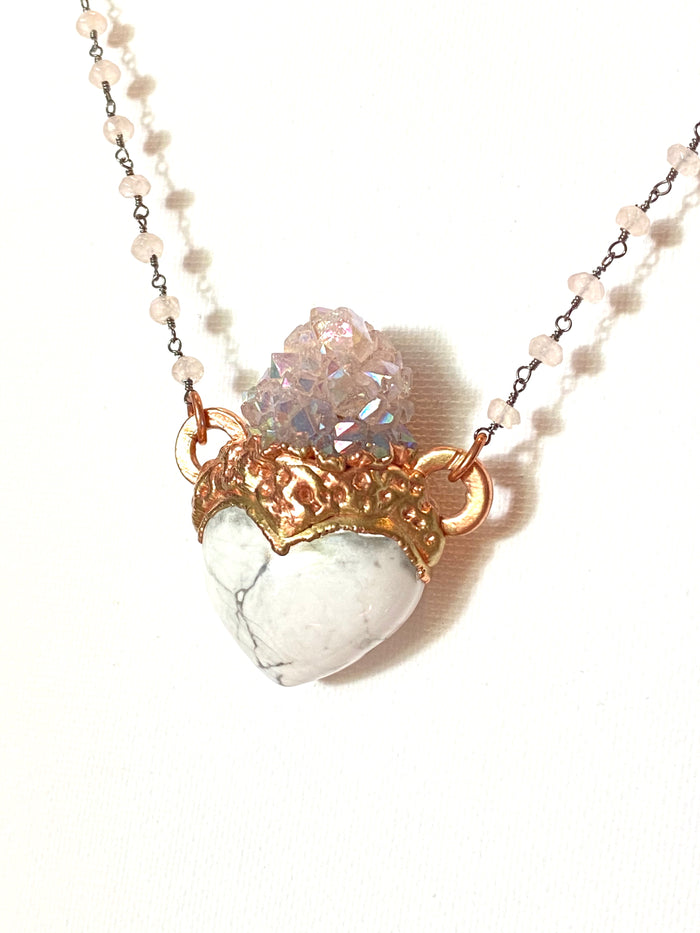 Howlite Heart and Angel Aura Pendant