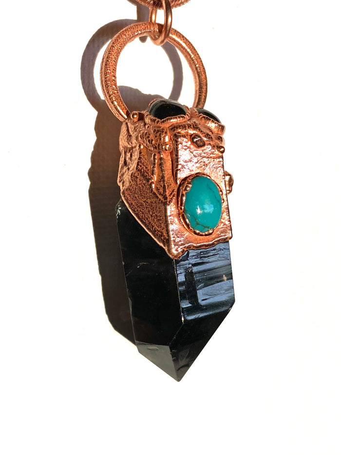 Smokey Quartz, Turquoise and Onyx Pendant