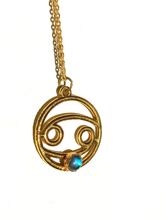 Cancer Moonstone 24k Pendant