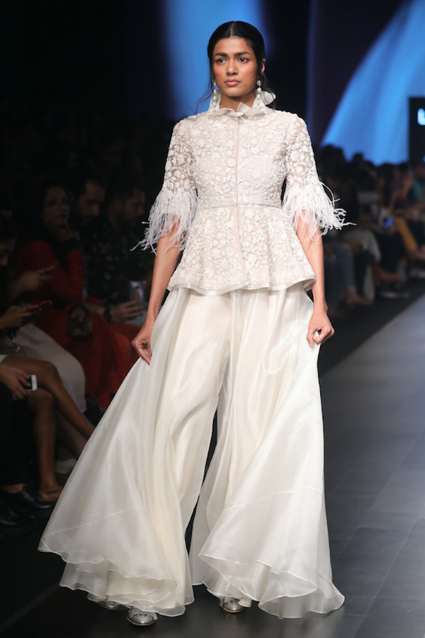 Embellished Jacket with Organza Sharara Trousers