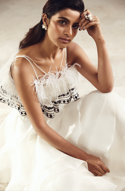 Embroidered plume top with layered organza skirt