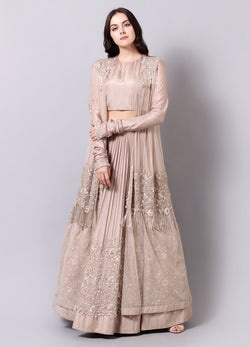 Champagne Tassel Embroidered Lehnga