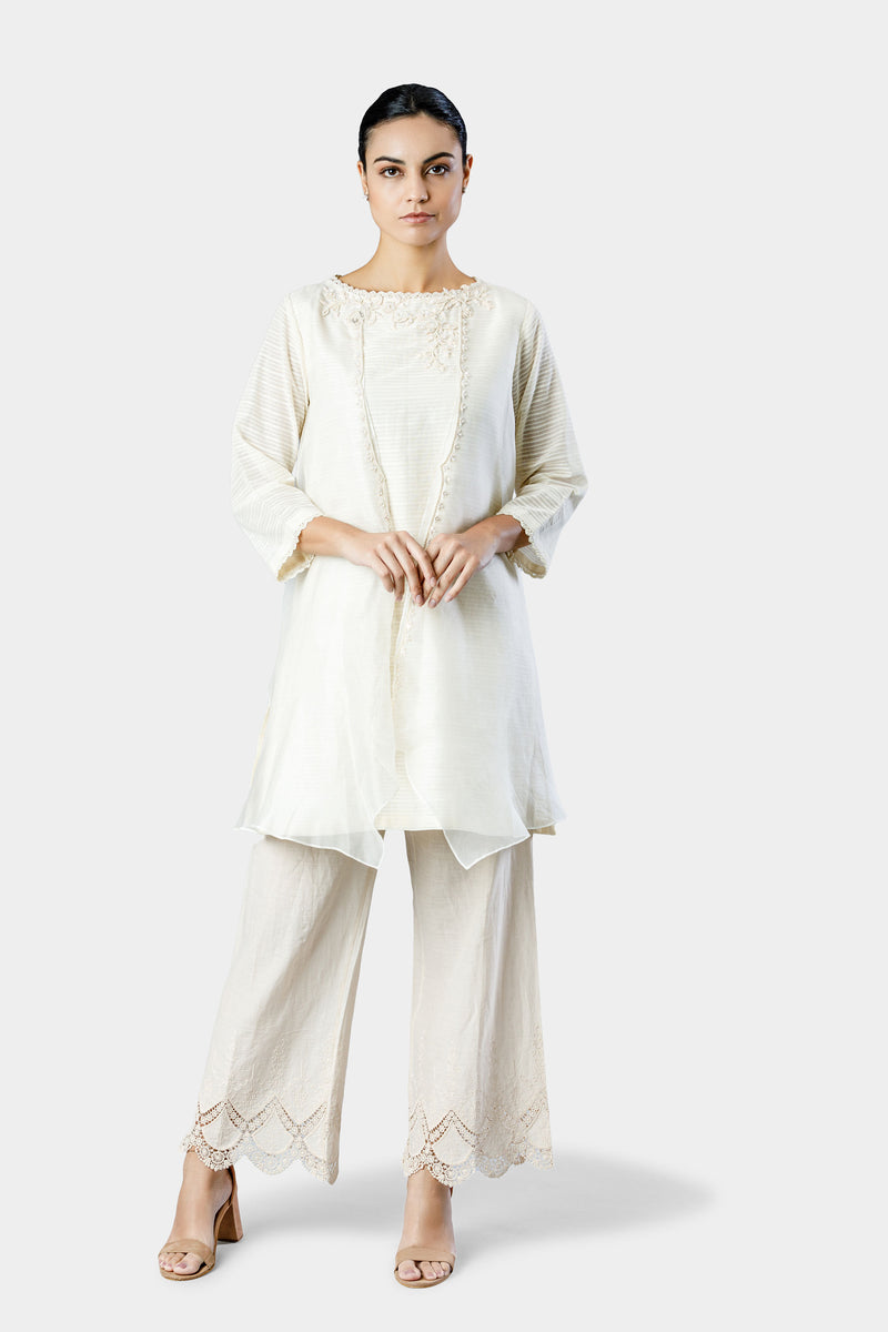 Ivory Embroidered Kurta