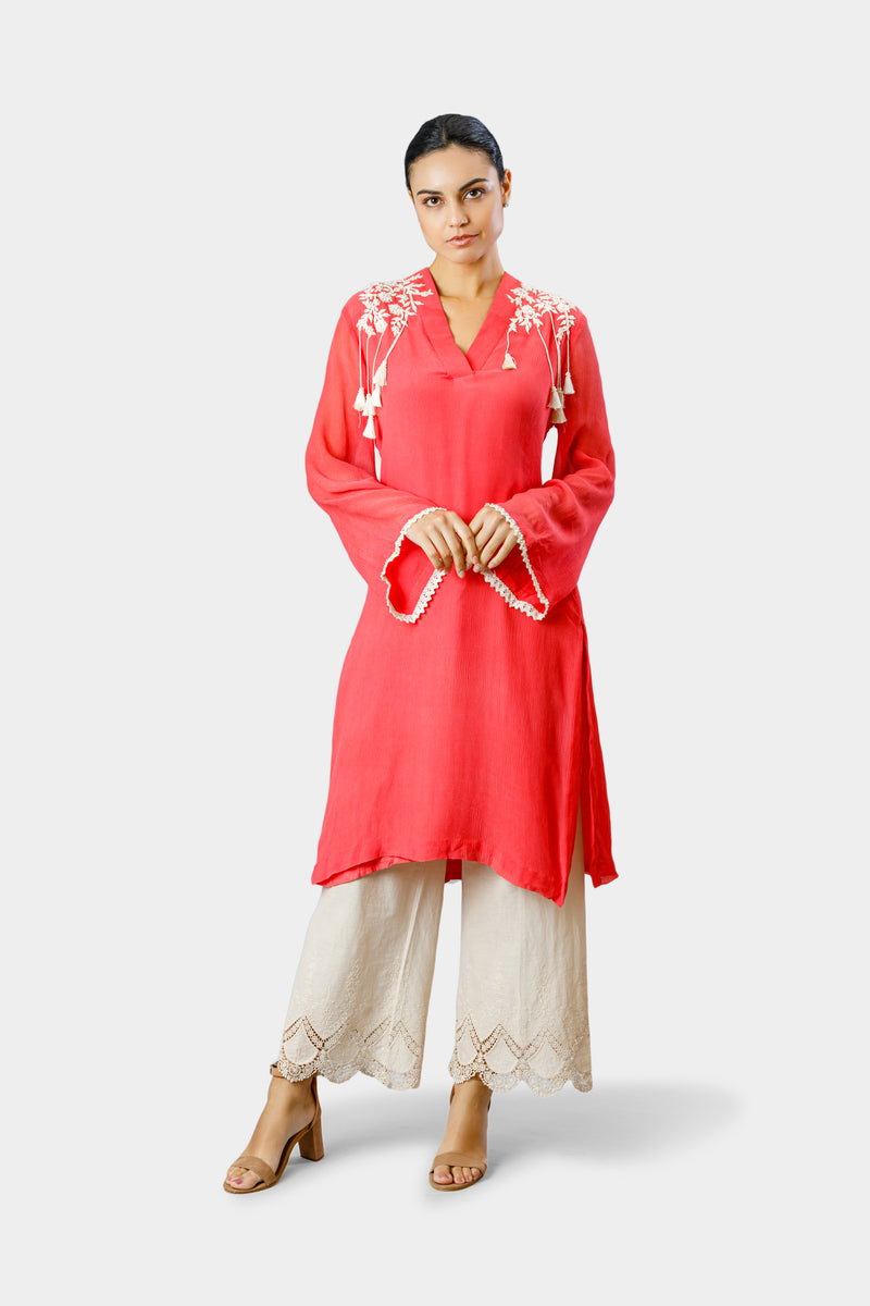 Embellished Kurta with Tassels