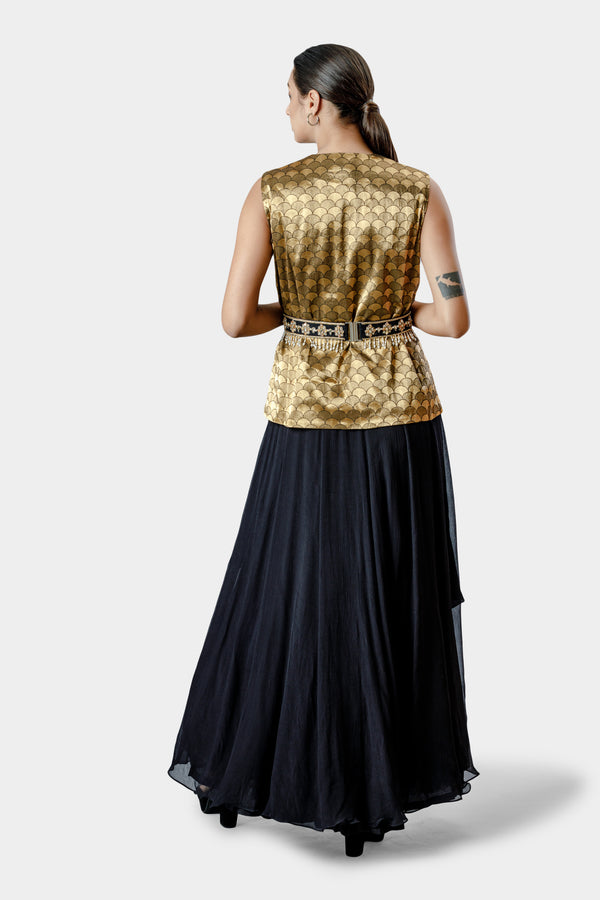Anarkali with Jacket and Embellished Belt