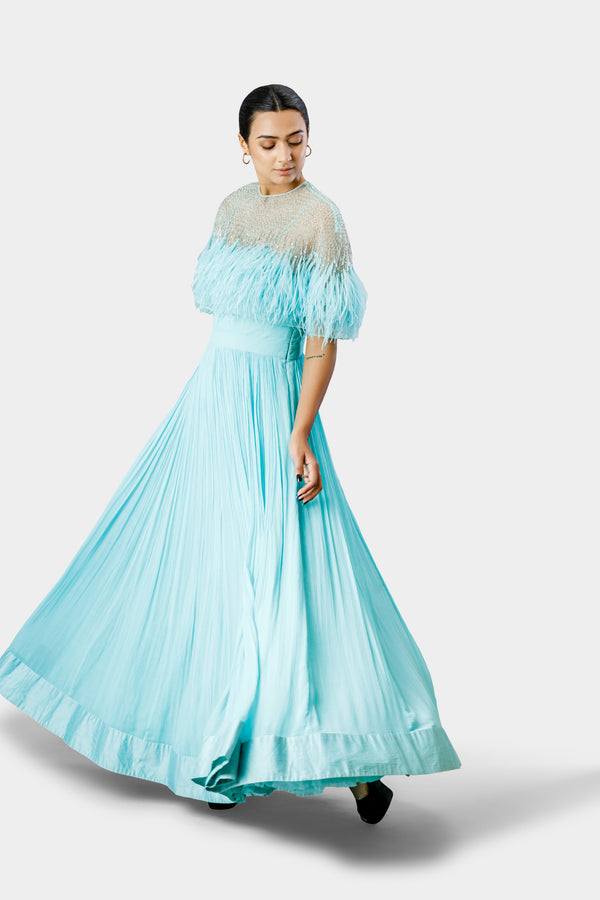 Aqua Feather Anarkali