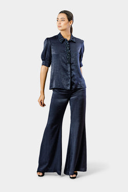 Navy Embellished Shirt with Pants