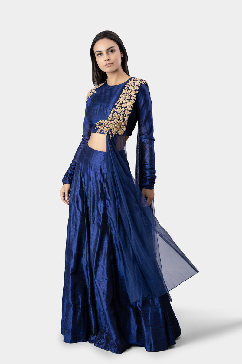 Embroidered Navy Blouse with Skirt