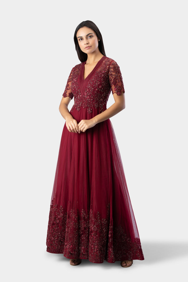 Deep Red Embellished Anarkali
