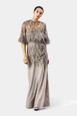 Feather Sequin Gown