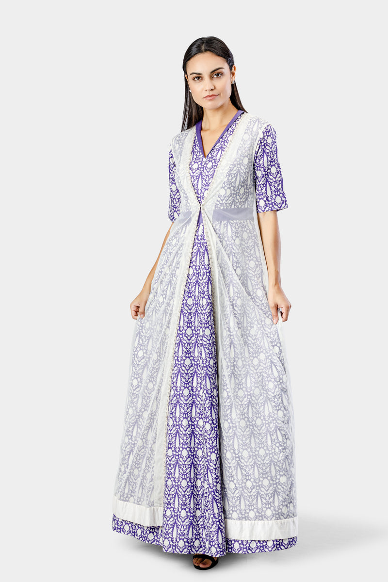 Printed Anarkali with Cape