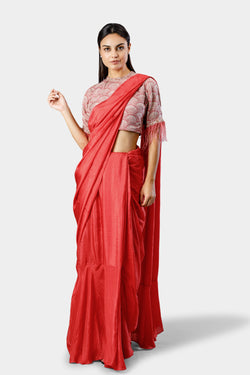 Coral Saree with Feather Blouse