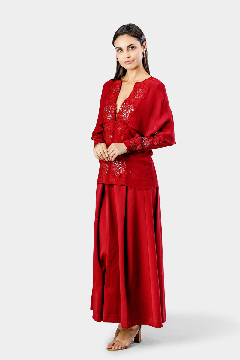 Deep Red Embellished Tunic Pant
