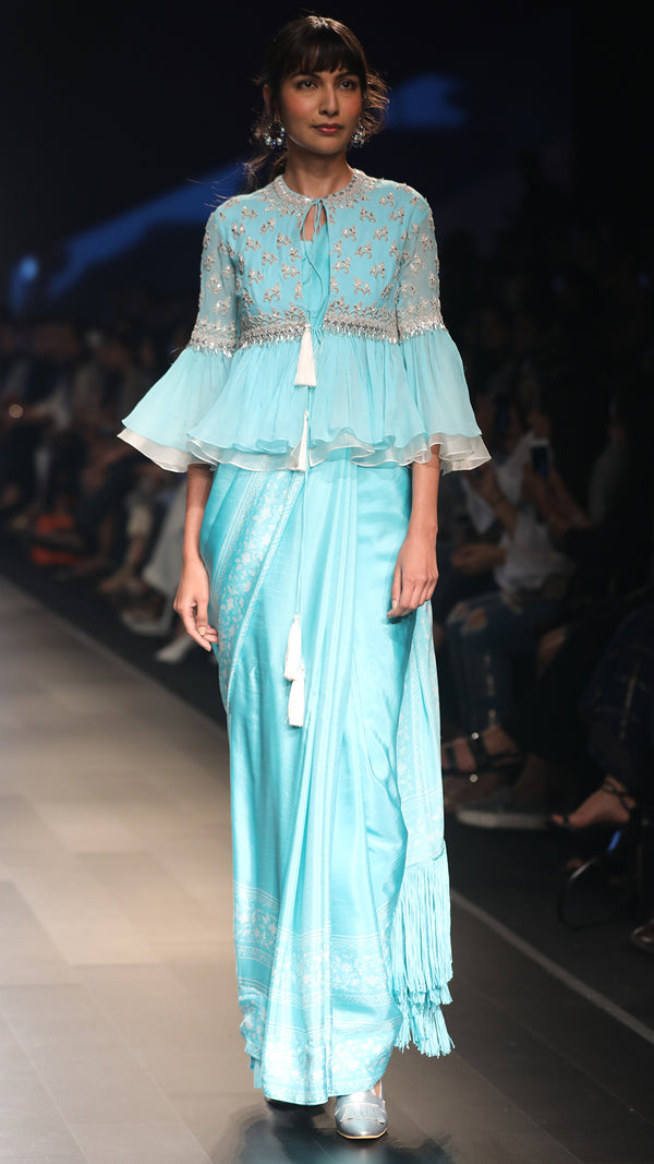 Aqua Saree with Bustier and Jacket