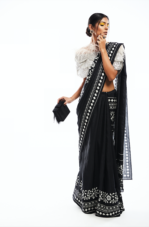 Printed Saree with Plume Top Featuring Gota Appliqué