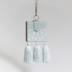 Ice Blue Printed Bag with Tassel Detail