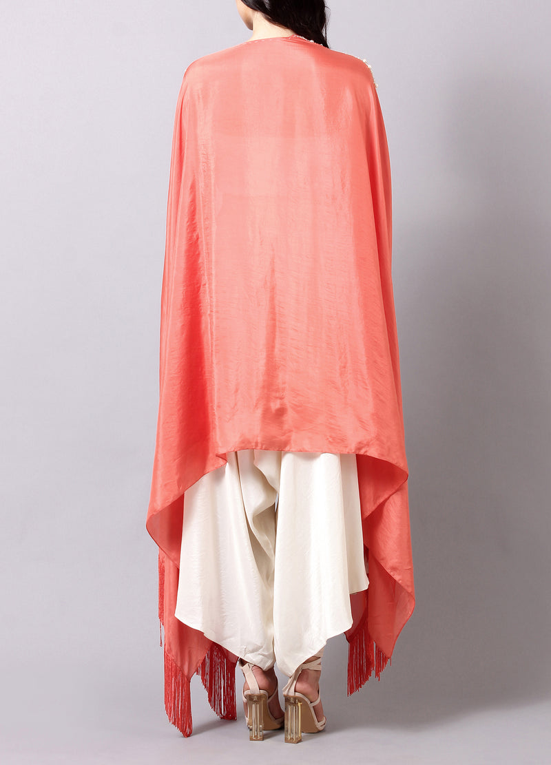 Coral Cape with Pearl Work and Fringes