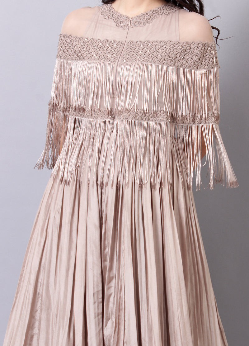 Champagne Anarkali with Fringes and Criss Cross Back Detailing