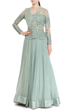 Sea green peplum lehenga set