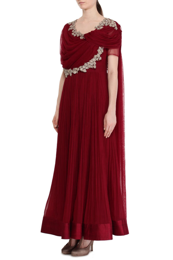 Burgandy short drape anarkali