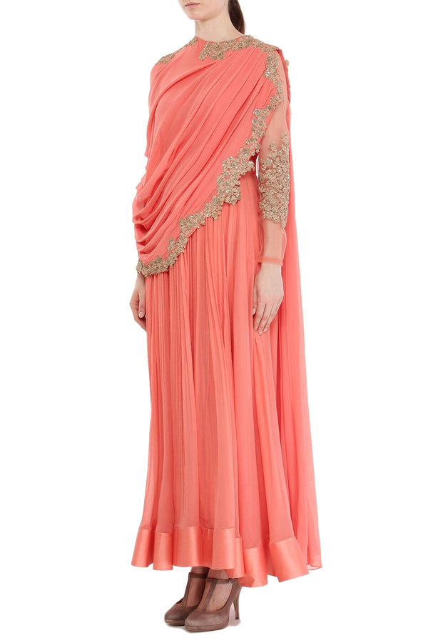 Coral drape Anarkali set