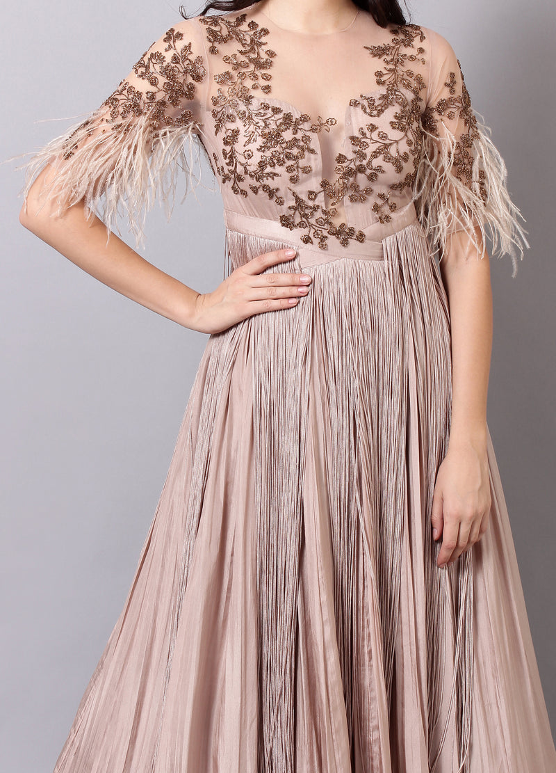 Champagne Anarkali with Fringes