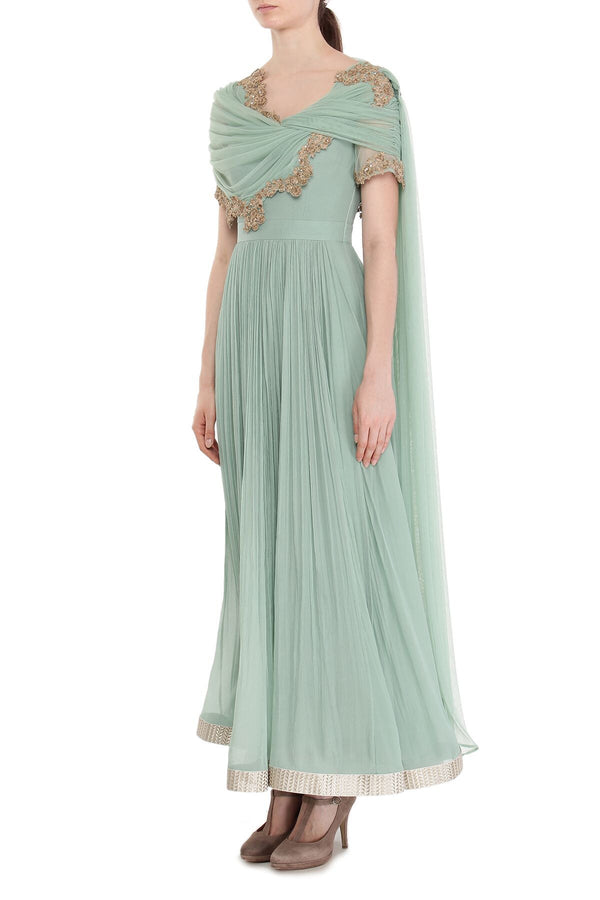 Sea-green short drape Anarkali set