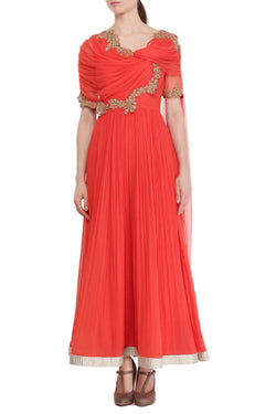 Red Short drape Anarkali set