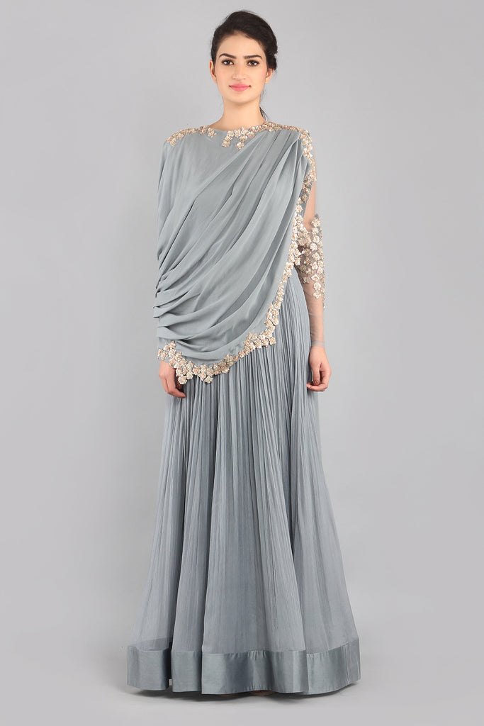 Mist grey drape Anarkali