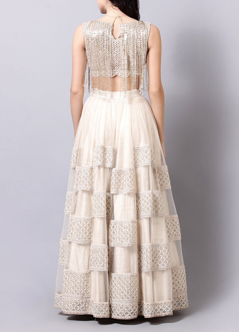 Ivory Embellished Lehnga set with Tassel Detailing