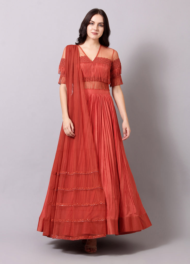 Rust Pleated Embellished Anarkali